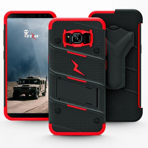 Made for [Samsung Galaxy S8 Active]-Bolt Series:  Heavy Duty Cover w/ Kickstand Holster Tempered Glass Screen Protector & Lanyard [Black/ Red]