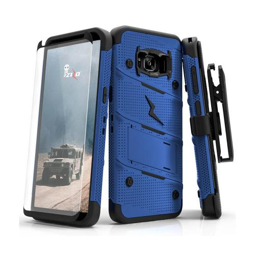 Made for [Samsung Galaxy S8 Active]-Bolt Series:  Heavy Duty Cover w/ Kickstand Holster Tempered Glass Screen Protector & Lanyard [Blue/ Black]