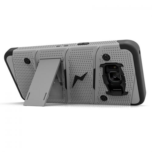 Made for [Samsung Galaxy S8 Active]-Bolt Series:  Heavy Duty Cover w/ Kickstand Holster Tempered Glass Screen Protector & Lanyard [Gray/ Black]