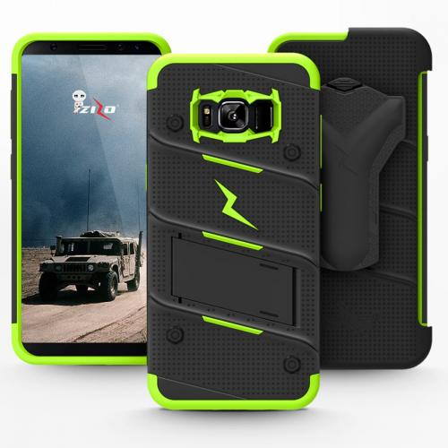 Made for [Samsung Galaxy S8 Plus]-Bolt Series:   Heavy Duty Cover w/ Kickstand Holster Tempered Glass Screen Protector & Lanyard [Black/ Neon Green]