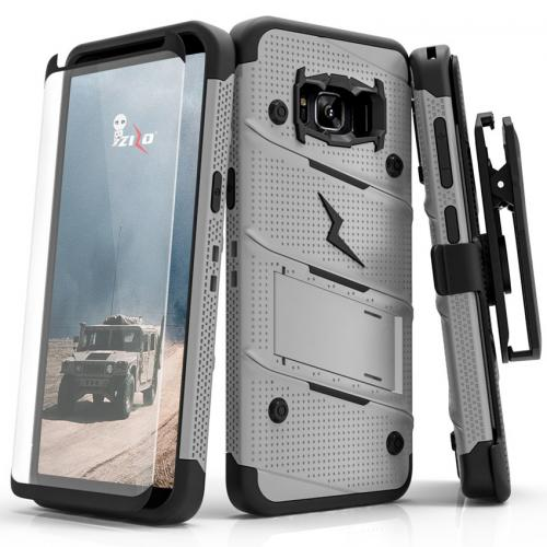 Made for [Samsung Galaxy S8 Plus]-Bolt Series:   Heavy Duty Cover w/ Kickstand Holster Tempered Glass Screen Protector & Lanyard [Gray/ Black]