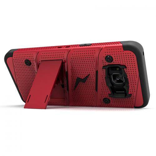 Made for [Samsung Galaxy S8 Plus]-Bolt Series:   Heavy Duty Cover w/ Kickstand Holster Tempered Glass Screen Protector & Lanyard [Red/ Black]