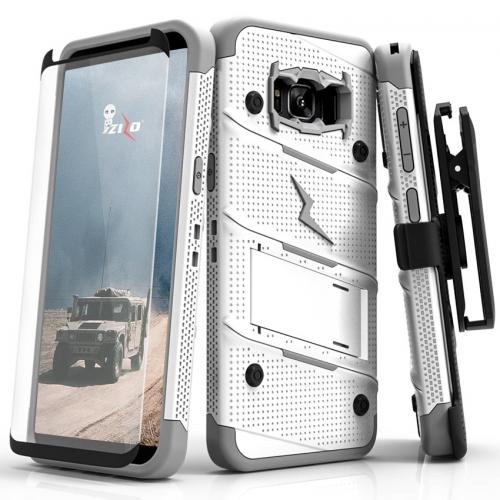Made for [Samsung Galaxy S8 Plus]-Bolt Series:   Heavy Duty Cover w/ Kickstand Holster Tempered Glass Screen Protector & Lanyard [White/ Gray]