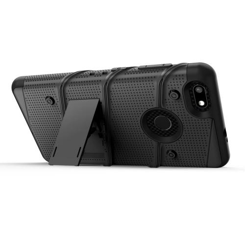 ZTE Blade X Case, [BOLT] Heavy Duty Cover w/ Kickstand, Holster, Tempered Glass Screen Protector & Lanyard [Black]