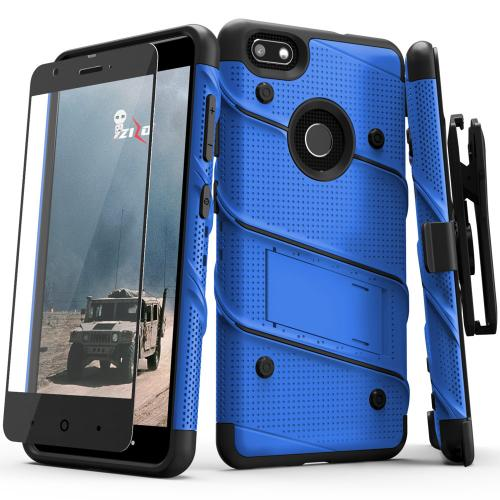 Made for [ZTE Blade X]-Bolt Series: Heavy Duty Cover w/ Kickstand Holster Tempered Glass Screen Protector & Lanyard [Blue/ Black]