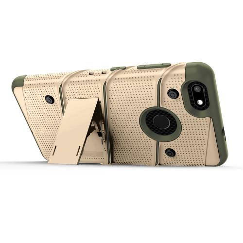 Made for [ZTE Blade X]-Bolt Series: Heavy Duty Cover w/ Kickstand Holster Tempered Glass Screen Protector & Lanyard [Desert Tan/ Camo Green]