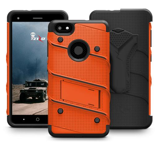 Made for [ZTE Blade X]-Bolt Series: Heavy Duty Cover w/ Kickstand Holster Tempered Glass Screen Protector & Lanyard [Orange/ Black]