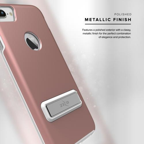 Made for [Apple iPhone 7 Plus (5.5 inch)]-Elite Series: Cover Slim & Protective Case w/ Built-in [MAGNETIC Kickstand] Shockproof Protection Lightweight [Metallic Hybrid] w/ Tempered Glass [Rose Gold]
