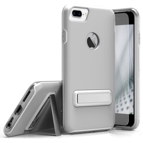 Made for [Apple iPhone 7 Plus (5.5 inch)]-Elite Series: Cover Slim & Protective Case w/ Built-in [MAGNETIC Kickstand] Shockproof Protection Lightweight [Metallic Hybrid] w/ Tempered Glass [Silver]