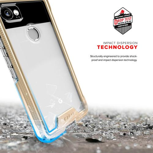 Made for [Google Pixel XL 2]-Ion Series: Triple Layered Shockproof Protection TPU & PC Hybrid Cover w/ Tempered Glass [Gold/ Clear]