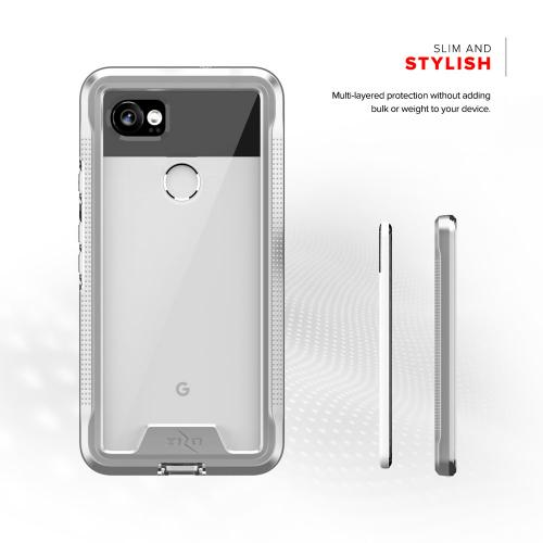 Made for [Google Pixel XL 2]-Ion Series: Triple Layered Shockproof Protection TPU & PC Hybrid Cover w/ Tempered Glass [Silver/ Clear]