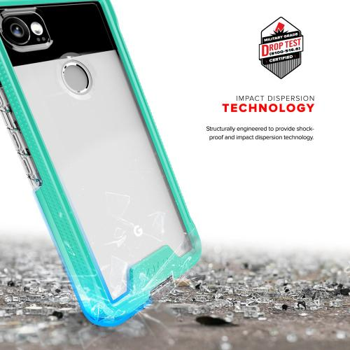 Made for [Google Pixel XL 2]-Ion Series: Triple Layered Shockproof Protection TPU & PC Hybrid Cover w/ Tempered Glass [Mint/ Clear]