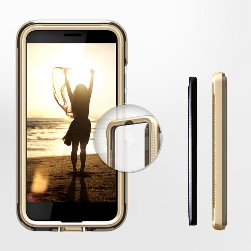 Made for [HTC Bolt]-Ion Series: Triple Layered Shockproof Protection TPU & PC Hybrid Cover w/ Tempered Glass [Gold/ Clear]