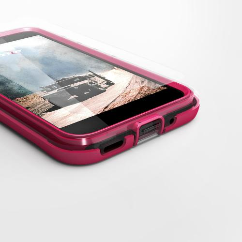 Made for [HTC Bolt]-Ion Series: Triple Layered Shockproof Protection TPU & PC Hybrid Cover w/ Tempered Glass [Hot Pink/ Clear]