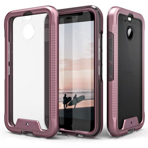 Made for [HTC Bolt]-Ion Series: Triple Layered Shockproof Protection TPU & PC Hybrid Cover w/ Tempered Glass [Rose Gold/ Clear]