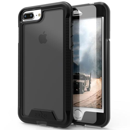 Made for [Apple iPhone 7 Plus (5.5 inch)]-Ion Series: Single Layered Shockproof Protection TPU & PC Hybrid Cover w/ Tempered Glass [Black/ Smoke]