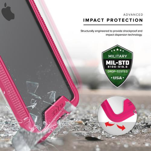 Made for [Apple iPhone 7 Plus (5.5 inch)]-Ion Series: Single Layered Shockproof Protection TPU & PC Hybrid Cover w/ Tempered Glass [Hot Pink/ Clear]