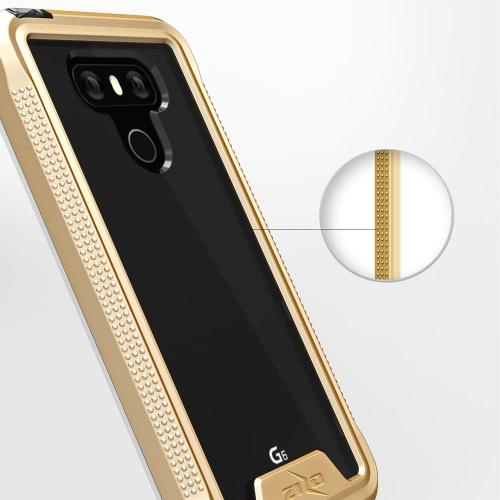 Made for [LG G6]-Ion Series: Triple Layered Shockproof Protection TPU & PC Hybrid Cover w/ Tempered Glass [Gold/ Clear]