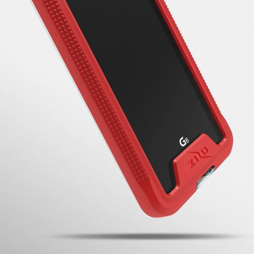 Made for [LG G6]-Ion Series: Triple Layered Shockproof Protection TPU & PC Hybrid Cover w/ Tempered Glass [Red/ Clear]