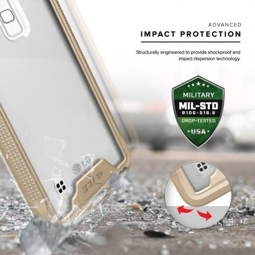 Made for [LG Stylo 2]-Ion Series: Single Layered Shockproof Protection TPU & PC Hybrid Cover w/ Tempered Glass [Gold/ Clear]