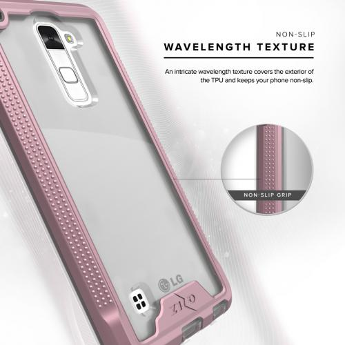 Made for [LG Stylo 2]-Ion Series: Single Layered Shockproof Protection TPU & PC Hybrid Cover w/ Tempered Glass [Rose Gold/ Clear]