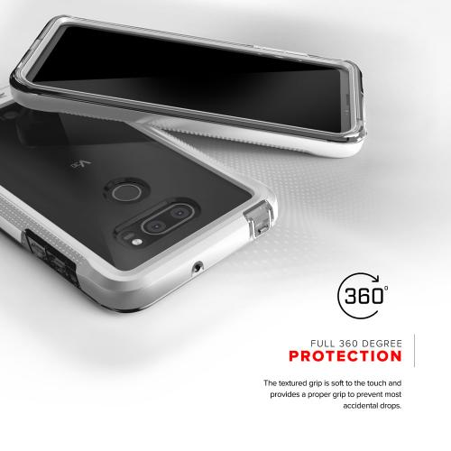 Made for [LG V30]-Ion Series: Triple Layered Shockproof Protection TPU & PC Hybrid Cover w/ Tempered Glass [Silver/ Clear]