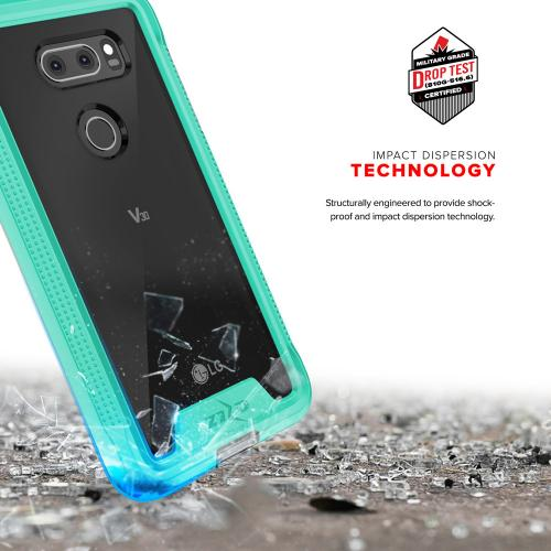 Made for [LG V30]-Ion Series: Triple Layered Shockproof Protection TPU & PC Hybrid Cover w/ Tempered Glass [Mint/ Clear]