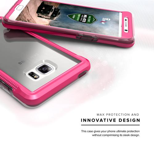 Samsung Galaxy Note 7 Case, ION Single Layered Shockproof Protection TPU & PC Hybrid Cover w/ Tempered Glass [Hot Pink/ Clear]