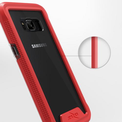 Made for [Samsung Galaxy S8]-Ion Series: Triple Layered Shockproof Protection TPU & PC Hybrid Cover w/ Tempered Glass [Red/ Clear]