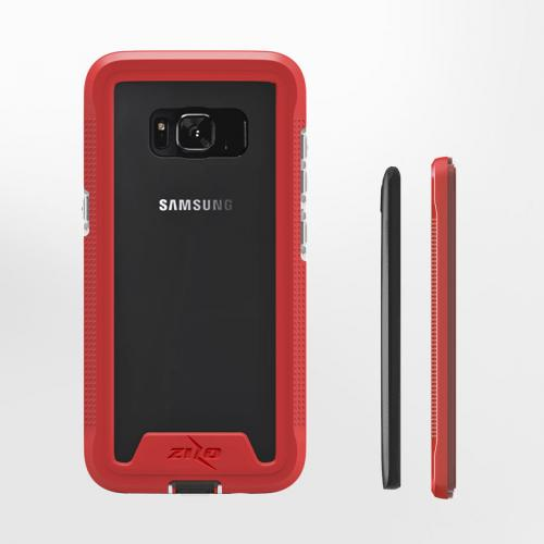 Made for [Samsung Galaxy S8 Plus]-Ion Series: Triple Layered Shockproof Protection TPU & PC Hybrid Cover w/ Tempered Glass [Red/ Clear]