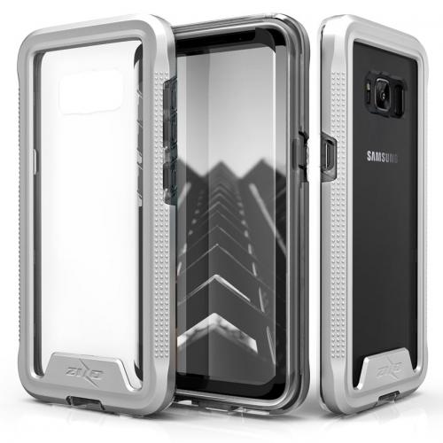 Made for [Samsung Galaxy S8 Plus]-Ion Series: Triple Layered Shockproof Protection TPU & PC Hybrid Cover w/ Tempered Glass [Silver/ Clear]