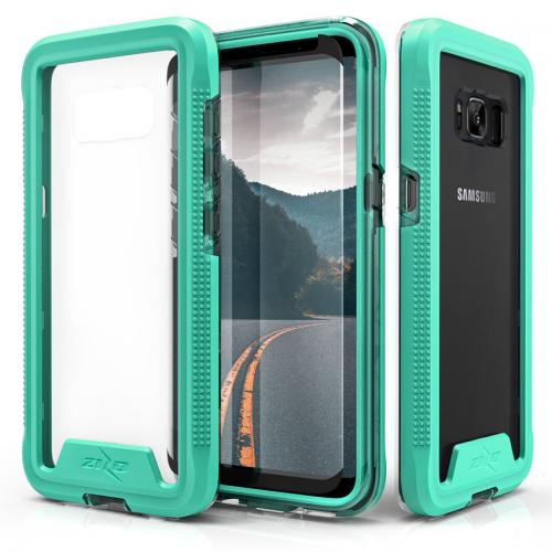 Made for [Samsung Galaxy S8 Plus]-Ion Series: Triple Layered Shockproof Protection TPU & PC Hybrid Cover w/ Tempered Glass [Mint/ Clear]