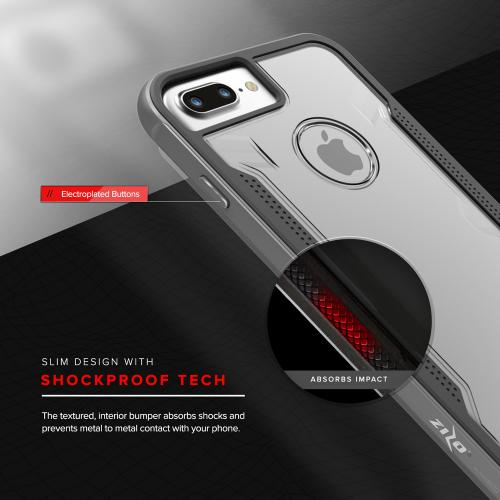 Made for [Apple iPhone 7 Plus (5.5 inch)]-Shock Series: Aluminum Metal Bumper [Crystal Clear] Hybrid Case w/ Reinforced Edges [Gray]