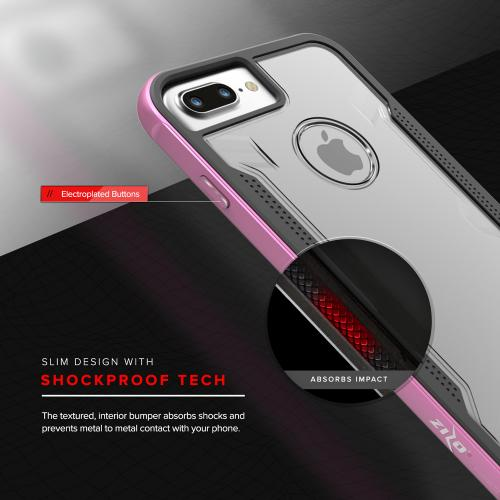 Made for [Apple iPhone 7 Plus (5.5 inch)]-Shock Series: Aluminum Metal Bumper [Crystal Clear] Hybrid Case w/ Reinforced Edges [Pink]