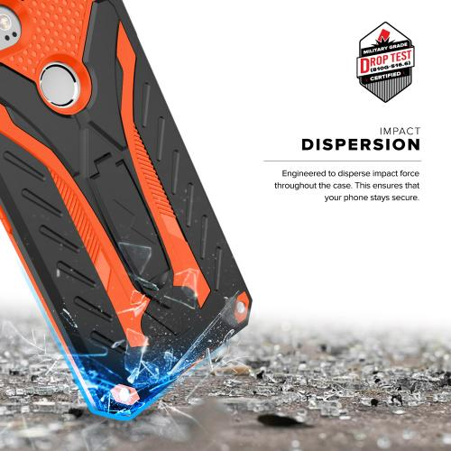 Made for [Google Pixel XL 2]-Static Series: Dual Layer Hard Case TPU Hybrid [Military Grade] w/ Kickstand & Shock Absorption [Black/ Orange]
