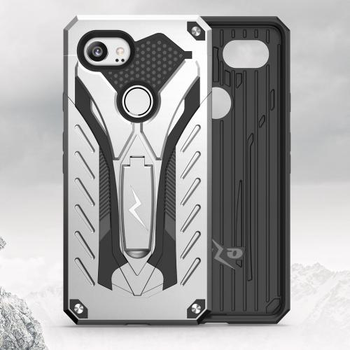 Made for [Google Pixel XL 2]-Static Series: Dual Layer Hard Case TPU Hybrid [Military Grade] w/ Kickstand & Shock Absorption [Silver/ Black]