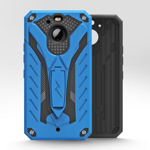 Made for [HTC Bolt]-Static Series: Dual Layer Hard Case TPU Hybrid [Military Grade] w/ Kickstand & Shock Absorption [Blue/ Black]
