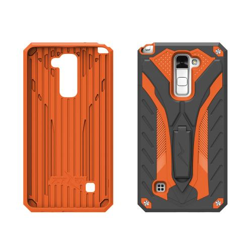 Made for [LG Stylo 2 Plus]-Static Series:  Dual Layer Hard Case TPU Hybrid [Military Grade] w/ Kickstand & Shock Absorption [Black/ Orange]