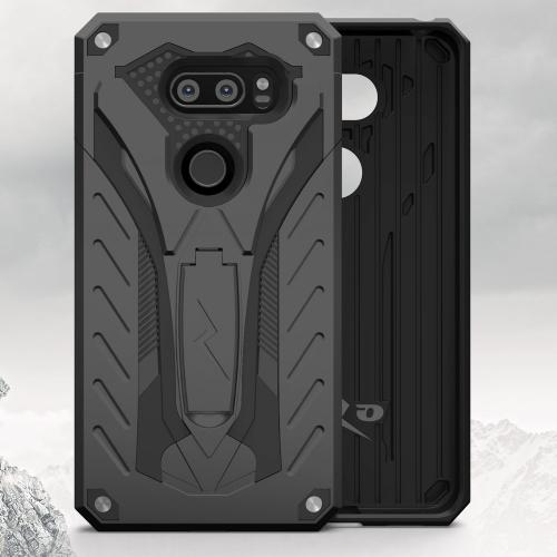 Made for [LG V30 Hybrid]-Static Series:  [Black] Dual Layer Hard Case TPU Hybrid [Military Grade] w/ Kickstand & Shock Absorption