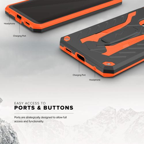 Made for [LG V30 Hybrid]-Static Series:  [Black/ Orange] Dual Layer Hard Case TPU Hybrid [Military Grade] w/ Kickstand & Shock Absorption