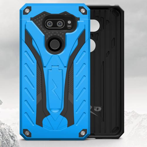 Made for [LG V30 Hybrid]-Static Series:  [Blue/ Black] Dual Layer Hard Case TPU Hybrid [Military Grade] w/ Kickstand & Shock Absorption