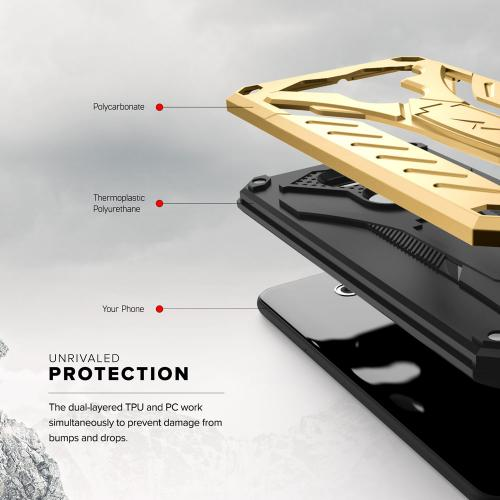 Made for [LG V30 Hybrid]-Static Series:  [Gold/ Black] Dual Layer Hard Case TPU Hybrid [Military Grade] w/ Kickstand & Shock Absorption
