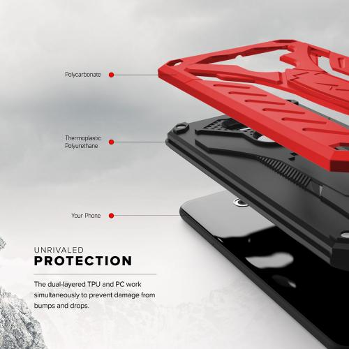 Made for [LG V30 Hybrid]-Static Series:  [Red/ Black] Dual Layer Hard Case TPU Hybrid [Military Grade] w/ Kickstand & Shock Absorption