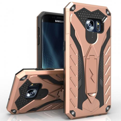 Made for [Samsung Galaxy S7 Edge]-Static Series:  Dual Layer Hard Case TPU Hybrid [Military Grade] w/ Kickstand & Shock Absorption [Rose Gold/ Black]