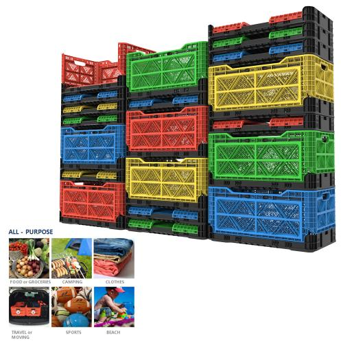 [BIGANT] Heavy Duty Collapsible & Stackable Plastic Milk Crate [Large Size/ 23.8 Gallons] - Yellow