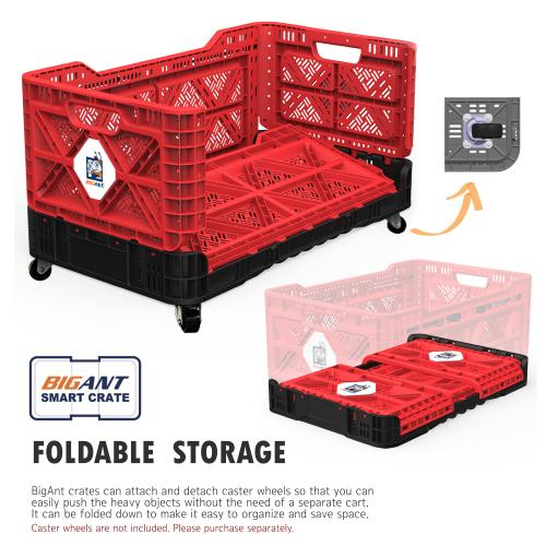 [BIGANT] Heavy Duty Collapsible & Stackable Plastic Milk Crate [Large Size/ 23.8 Gallons] - Red