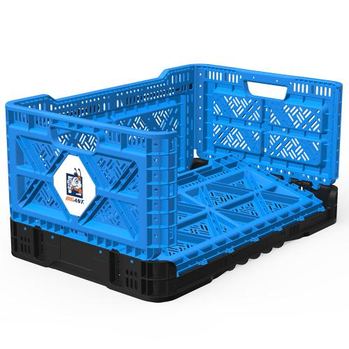 [BIGANT] Heavy Duty Collapsible & Stackable Plastic Milk Crate [Medium Size/ 12.7 Gallons] - Blue