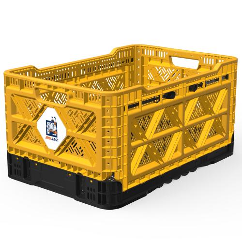 [BIGANT] Heavy Duty Collapsible & Stackable Plastic Milk Crate [Medium Size/ 12.7 Gallons] - Yellow