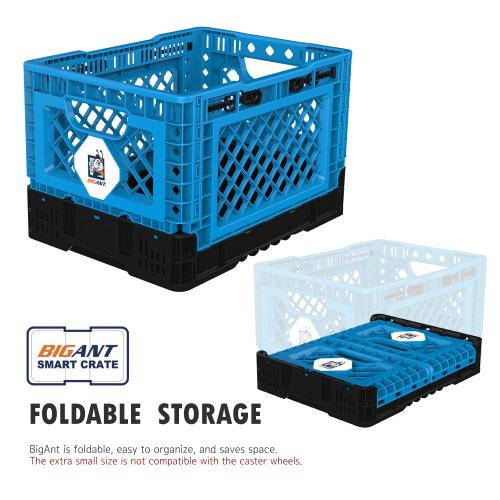 [BIGANT] Heavy Duty Collapsible & Stackable Plastic Milk Crate [Small Size/ 6.5 Gallons] - Blue