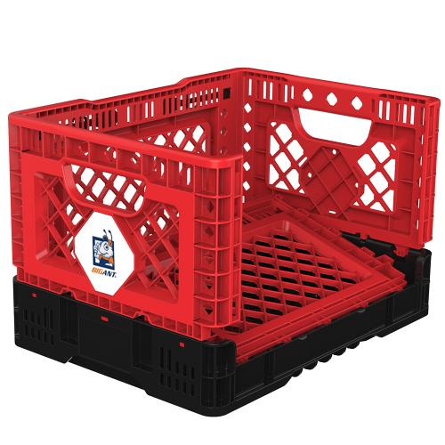 [BIGANT] Heavy Duty Collapsible & Stackable Plastic Milk Crate [Small Size/ 6.5 Gallons] - Red